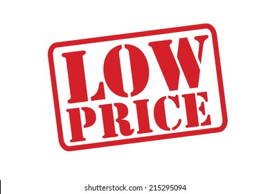 LOW PRICE Red Rubber Stamp vector over a white background.