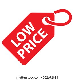 Low price tag. Red color. Vector illustration.