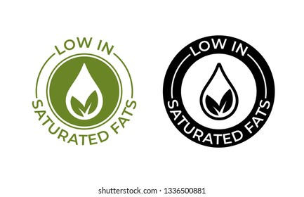 Low in saturated fats vector icon. Food package seal, free or contain no saturated fats, leaf and oil drop label