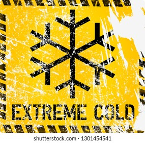 low temperature, extreme cold and frost warning sign, grunge vector illustration, fictional artwork