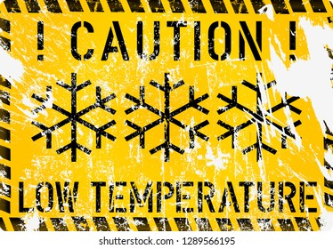 low temperature, frost, winter warning sign, grunge vector illustration,