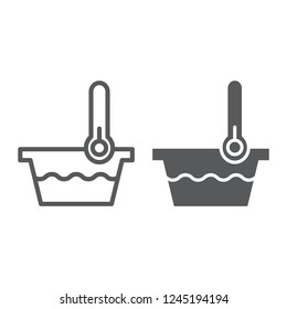 Low temperature line and glyph icon, indicator and wash, thermometer and basin sign, vector graphics, a linear pattern on a white background, eps 10.