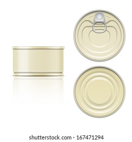 Low tin can with ring pull: side, top and bottom view. Vector illustration. Packaging collection.