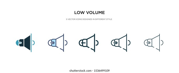 low volume icon in different style vector illustration. two colored and black low volume vector icons designed in filled, outline, line and stroke style can be used for web, mobile, ui
