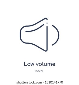 low volume icon from user interface outline collection. Thin line low volume icon isolated on white background.