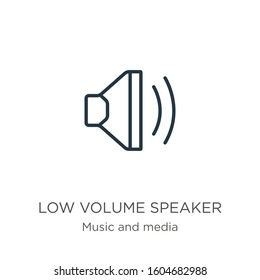 Low volume speaker icon. Thin linear low volume speaker outline icon isolated on white background from music and media collection. Line vector sign, symbol for web and mobile