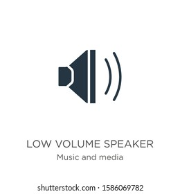 Low volume speaker icon vector. Trendy flat low volume speaker icon from music and media collection isolated on white background. Vector illustration can be used for web and mobile graphic design,