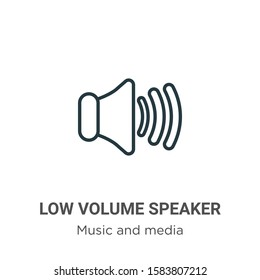 Low volume speaker outline vector icon. Thin line black low volume speaker icon, flat vector simple element illustration from editable music and media concept isolated on white background