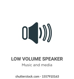 Low volume speaker vector icon on white background. Flat vector low volume speaker icon symbol sign from modern music and media collection for mobile concept and web apps design.