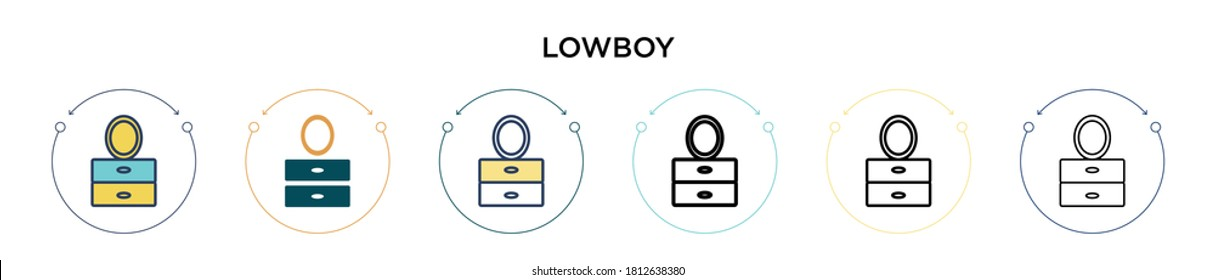 Lowboy icon in filled, thin line, outline and stroke style. Vector illustration of two colored and black lowboy vector icons designs can be used for mobile, ui, web