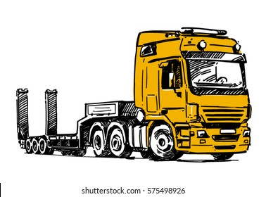 Lowboy semi-trailer truck