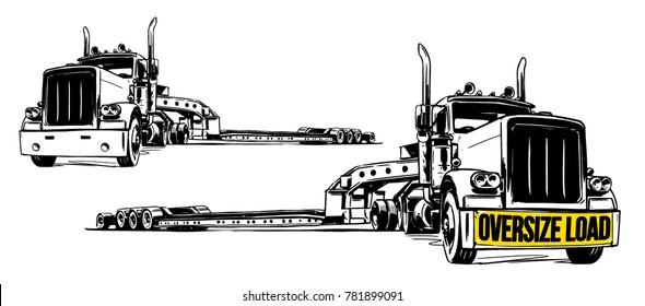 Lowboy Trailer. vector illustration
