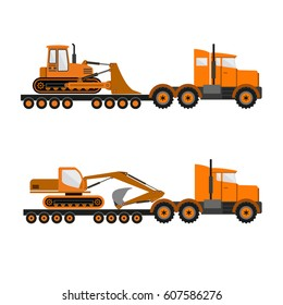 Lowboy trailers carrying crawler bulldozer and excavator.