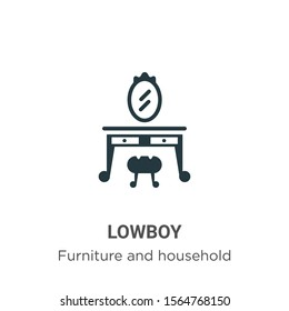 Lowboy vector icon on white background. Flat vector lowboy icon symbol sign from modern furniture and household collection for mobile concept and web apps design.