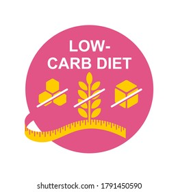 Low-carbohydrate diet that restrict carbohydrate consumption - crossed wheat, honey and sugar - vector icon