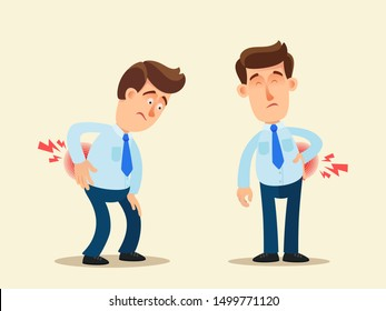 Lower back pain. Office worker with backache. Sedentary work and back ache, side pain. Vector illustration, flat design, cartoon style. Isolated background. Side and front view.