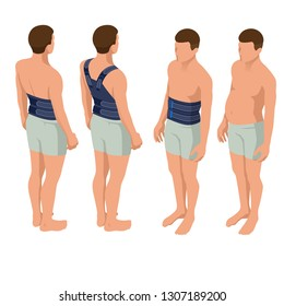 Lower back pain or Spine pain, osteoporosis. Immobilizer. Anatomical body of a man. Rehabilitation after trauma. Orthopedics and medicine. Isometric Vector illustration