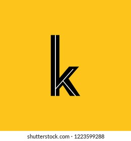 lower case letter k icon with skeleton structure construction simplified yellow background