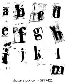 Lower case newspaper cutout letters a-m