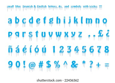 lower case Spanish and English alphabet, numbers, and symbols with icicles font. Isolated. VECTOR.