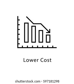 Lower Cost Vector Line Icon