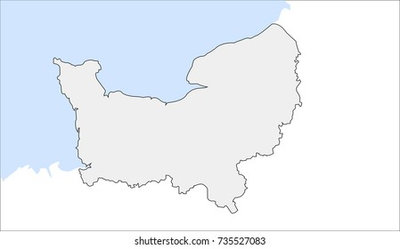 Lower Normandy outline map. France, vector. Eps file.