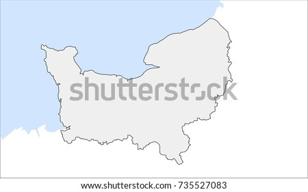 Lower Normandy Outline Map France Vector Stock Vector Royalty Free
