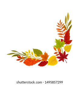 Lower right right corner of the autumn leaves. Vector illustration on a white background.