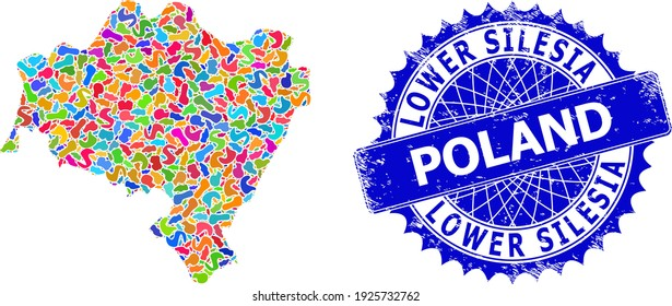 Lower Silesian Voivodeship map flat illustration. Spot collage map and grunge stamp seal for Lower Silesian Voivodeship. Sharp rosette blue stamp seal with tag for Lower Silesian Voivodeship map.