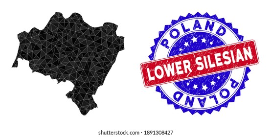 Lower Silesian Voivodeship map polygonal mesh with filled triangles, and textured bicolor rubber seal. Triangle mosaic Lower Silesian Voivodeship map with mesh vector model,