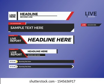Lower Third Collection Set for News, entertainment or event. Flat design lower third. Live lower third.