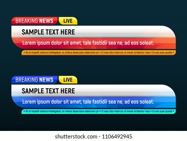 Lower third for news header. Breaking news. Vector template for your design.