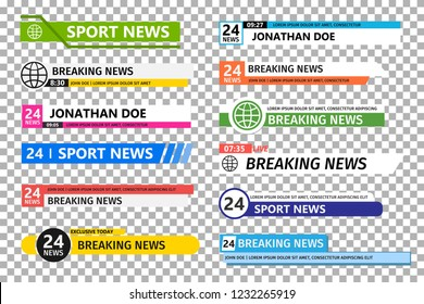 Lower third template. Set of TV News bar . News banner for TV streaming. Vector