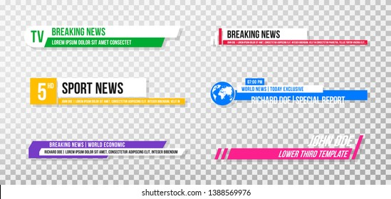 Lower third template. Set of TV banners and bars for news and sport channels, streaming and broadcasting. Collection of lower third for video editing on transparent background. Vector