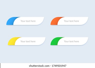 Lower third template. TV header mockup. Round box for television news. Green, blue, yellow and orange lowerthird. Sport news template with text. Isolated media mockup box. Vector EPS 10