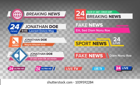 Lower Third Title TV News Bars Set Vector. News Banner For TV Streaming. Full Hd, Live Sport Stream. Broadcast Banner Isolated Illustration