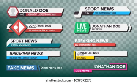 Lower Third TV News Bars Set Vector. Breaking, Sport News. Media labels Tag For Television Broadcast. Isolated Illustration
