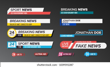 Lower Third TV News Bars Set Vector. Sign Of Lower Third. live News, Ultra HD. Banners For Broadcasting Television Video Template. Isolated Illustration