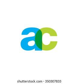 lowercase ac logo, blue green overlap transparent logo
