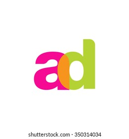 lowercase ad logo, pink green overlap transparent logo, modern lifestyle logo