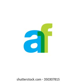 lowercase af logo, blue green overlap transparent logo