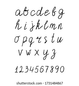 Lowercase alphabet with numbers. Hand drawn lettering set. Stock vector illustration.