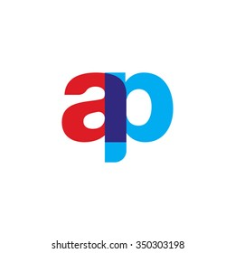 lowercase ap logo, red blue overlap transparent logo