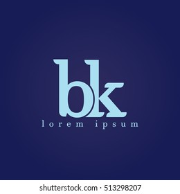 lowercase b and k vector logo. bk initial design template for download