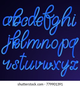 Lowercase blue hand drawn 3D letters isolated on dark background. Vector illustration. Latin alphabet