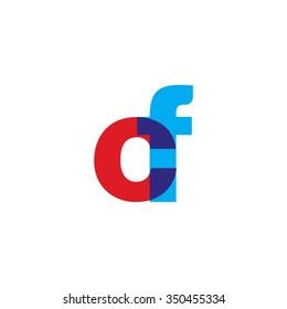 lowercase cf logo, red blue overlap transparent logo