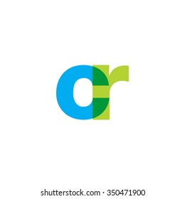 lowercase cr logo, blue green overlap transparent logo