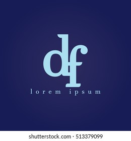 lowercase d and f vector logo. df initial design template for download