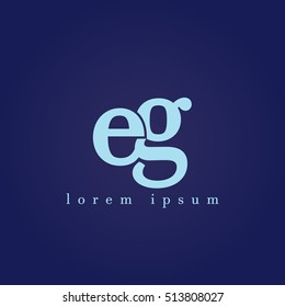 lowercase e and g vector logo. eg initial design template for download