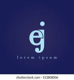 lowercase e and j vector logo. ej initial design template for download